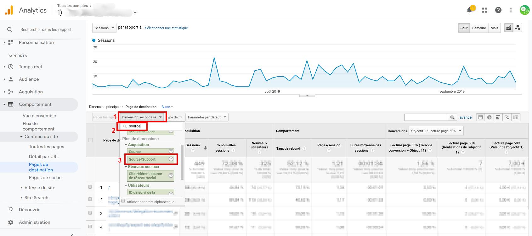 ajouter une dimension seo à Google Analytics