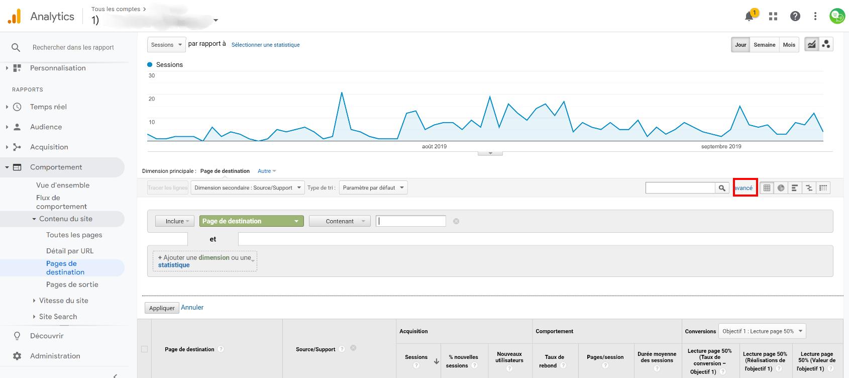 filtre avancé google analytics