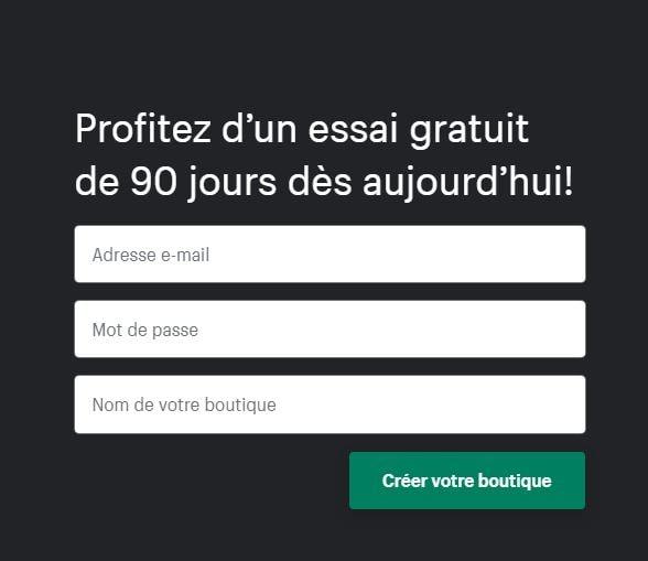 Shopifygratuit 90 jours