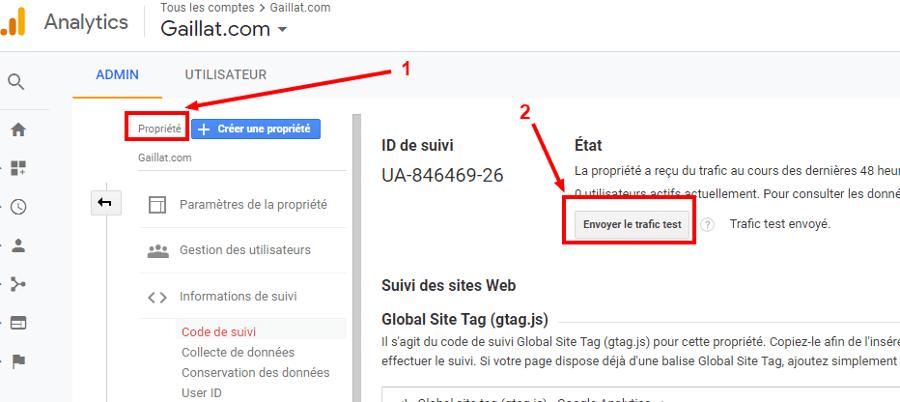 test trafic Google Analytics
